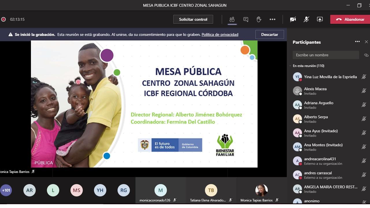 ICBF presentó en Mesa Pública su oferta de servicios en Sahagún y Chinú, Córdoba