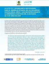 Respuesta institucional para el abordaje integral de las violencias contra niñas, niños y adolescentes durante la emergencia sanitaria del 12 de marzo al 11 de junio de 2020